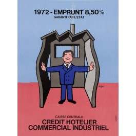 "Original Vintage French Poster for ""Emprunt Credit Hotelier"" by Savignac 1972"