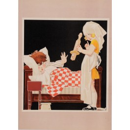 "Original Vintage Lithograph ""Girl & Boy"" by Rene Vincent 1920's"