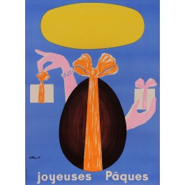 "Original Vintage French Poster for ""Joyenses Paques"" Happy Easter by Villemot"