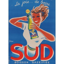 "Original Vintage French Poster for ""SUD - Boisson Gazeifiee"" Soda Drink by Bellenger ca. 1950"
