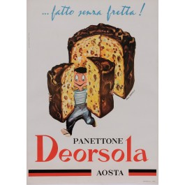 "Original Vintage Italian Poster for ""Panettone Deorsola"" Aosta Pastry by Pino Barale 1950's"