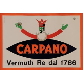 """Original Vintage Italian Poster for """"Carpano"""" Aperitif by Testa Armandu 1950's"""