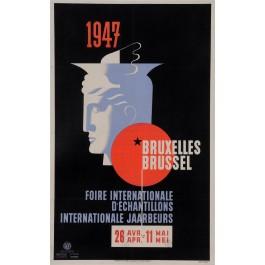 "Original Vintage Belgian Poster for ""Bruxelles Foire Internationale 1947"""
