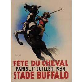 "Original Vintage French Poster for ""Fete du Cheval"" Horses by Chancel 1934"