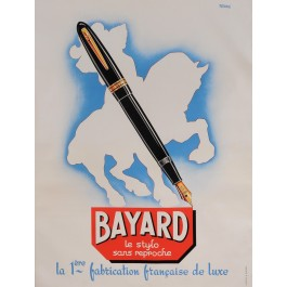"""Original Vintage French Poster for """"BAYARD - Le Stylo sans Reproche"""" by A. Peris 1950's"""