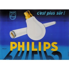 "Original Vintage French Poster for ""PHILIPS C'est Plus Sur"" by P. Muckens"