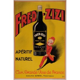 "Original Vintage French Alcohol Poster Advertising ""Fred Zizi"" Aperitif 1932"
