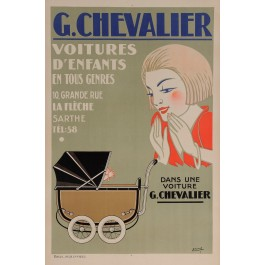 "Original Vintage French Poster for ""G. Chevalier - Voiture d'Enfants"" by Etienne"