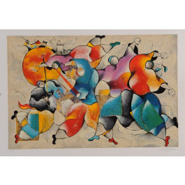 "Original Vintage Israeli Signed Serigraph ""Dancers"" by David Schluss ""AP"""