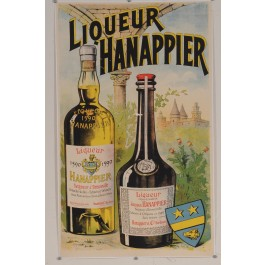 "Original Vintage French Alcohol Poster ""Liqueur Hanappier"" ca. 1920"