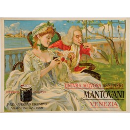 "Original Vintage Italian Alcohol Poster Advertising ""Mantovani Venezia"" Aperitif"