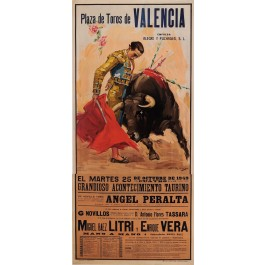 "Original Vintage Spanish Poster for ""Plaza de Toros de Valencia"" by J. Reus 1949"