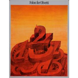 "Original Vintage Exhibition Poster ""Folon for Olivetti"" Metropolitan ca. 1990"