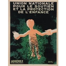 "Original French Propaganda Poster ""Union Nationale - Protection de L'Enfance"""