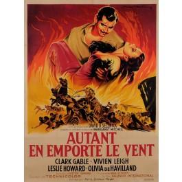 """Original French Movie Poster """"AUTANT EN EMPORTE LE VENT"""" SOUBIE 1950"""