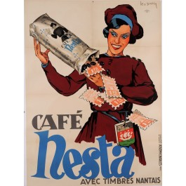 "Original Vintage French Poster for ""Cafe Nesta"" Coffee by Leon Dupin 1930's"