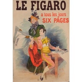"""Original Vintage French Newspaper Poster for """"Le Figaro"""" by Rene Pean ca. 1900"""
