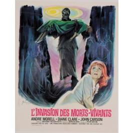 """Original Vintage French Movie Poster for """"L'INVASION DES MORTS - VIVANTS"""" by BORIS GRINSSON 1966"""