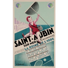 "Original Vintage French Travel Poster for ""SAINT AUBIN SUR MER CALVADOS"" by GALLAND"