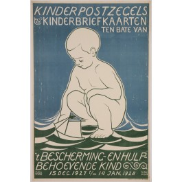 "Original Vintage German Children Poster ""Kinderpostzegels"" by Tjipke Visser 1927"