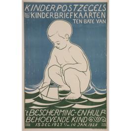 """Original Vintage German Children Poster """"Kinderpostzegels"""" by Tjipke Visser 1927"""