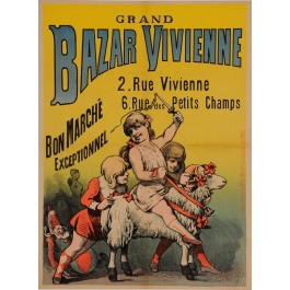 "Original Vintage French Children Poster ""Grand Bazar Vivienne"" ca. 1900"