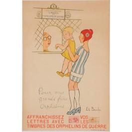 """Original Vintage French War Propaganda Poster """"Timbres des Orphelins de Guerre"""" by El Branly 1927"""