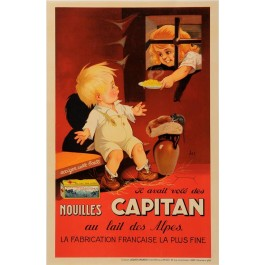 "Original Vintage French Poster for ""Nouilles Capitan"" by Jacques SAIGNIER 1930"