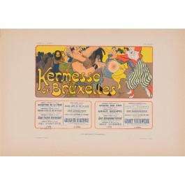 """Les Affiches Etrangeres """"Kermesse Bruxelles"""" Stone Lithograph by Mignot 1896"""
