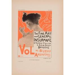 """Les Affiches Etrangeres """"Vol Argentieres"""" Stone Lithograph by Berchmans - 1897-99"""