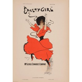 """Les Affiches Etrangeres """"Gaiety Girl"""" Stone Lithograph by Dudley Hardy - 1897-99"""