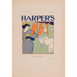 "Les Affiches Etrangeres ""Haper's - May"" Stone Lithograph by E. Penfield 1898"