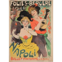 """Original Vintage French Poster for """"Folies Bergere - NAPOLI"""" by Grun 1901"""