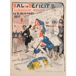 "Original Vintage  French Poster Advertising ""BAL du D'EFICIT"" by Grun 1897"