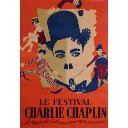 "Original Movie Poster ""Le Festival Charlie Chaplin"" by Bernard Lancy 1948"