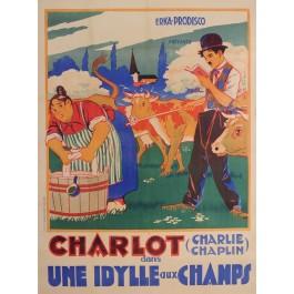 "Original Charlie Chaplin Movie Poster ""Une Idylle aux Champs (Sunnyside)"" 1919"