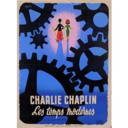 "Original Vintage French Movie Chaplin Poster ""Les Temps Modernes"" Modern Times 1936"