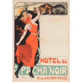 "Original Vintage French Poster ""Hotel du Pacha Noir"" by Grun 1899"