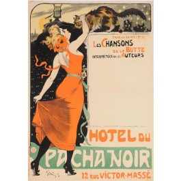 "Original Vintage French Poster ""Hotel du Pacha Noir"" by Grun 1899"
