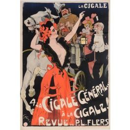 "Original Vintage French Poster ""La Cigale - A La Cigale, General"" by Grun 1899"
