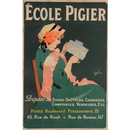 """Original Vintage French Poster """"Ecole Pigier"""" by Grun ca. 1900"""