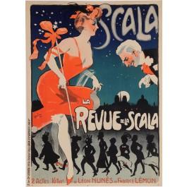 """Original Vintage French Poster """"La Revue de La Scala"""" by Grun 1906"""