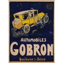 """Original Vintage French Poster """"Automobiles Gobron"""" by Grun Extremely Rare!!!"""