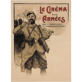 "Original Vintage French Poster ""Le Cinema aux Arme'es"" by Grun.  ca. 1915"
