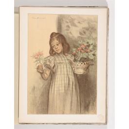 """Original French Lithograph-Only L'Estampe Moderne N.21 """"La bouquetière"""" Bouisset"""