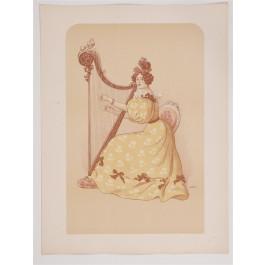 "Original French Lithogaph ONLY L'Estampe Moderne N.13 ""La Romance"" by ROEDEL"