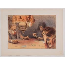 """Original French Litho ONLY L'Estampe Moderne N.21 """"La lampe"""" by François Guiguet"""