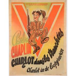 "Original Vintage Charlie Chaplin French Movie Poster ""Shoulder Arms"" 1918"