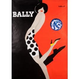 """Original Vintage French Fashion Poster """"Bally Ballon"""" by Villemot 1989"""