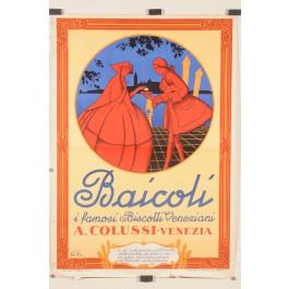 "Original Vintage Italian Poster ""BAICOLI"" Venetian Biscotti 1949"
